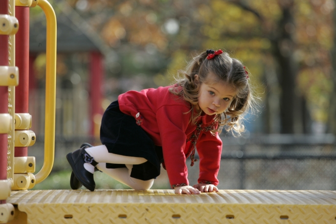 Hanna Playing on the playground in Eisonhower Park